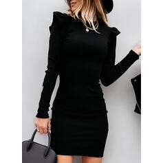 Pevný Dlouhé rukávy/Nadýchané rukávy Přiléhavé Nad kolena Malé černé/Elegantní Svetr Šaty