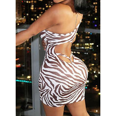 Print/Backless Sleeveless Bodycon Above Knee Sexy/Casual Dresses