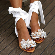 PU Επίπεδη φτέρνα Σανδάλια Ανοιχτά σανδάλια toe Με Απομιμήσεις Pearl παπούτσια