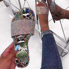 De mujer PU Tacón plano Sandalias Pantuflas con Brillo Chispeante zapatos