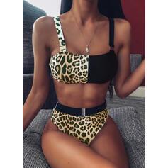 Magas derék Kiegészítő szín Pánt Szexis Bikinik Μαγιό