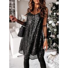 スパンコール/固体 長袖 シフトドレス 膝上 リトルブラックドレス/セクシー/パーティー ドレス