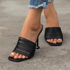 Γυναίκες PU Ψηλό τακούνι Σανδάλια Πλατεία Toe Τακούνια Με Κορδέλα δεμένη παπούτσια