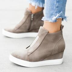 Kvinnor Mocka Kilklack Plattform Kilar med Zipper skor
