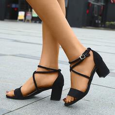 De mujer Ante Tacón ancho Sandalias Encaje con Hebilla zapatos