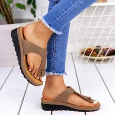 Dla kobiet PU Niski Obcas Sandały Otwarty Nosek Buta Japonki Kapcie Z Kolor splotu obuwie