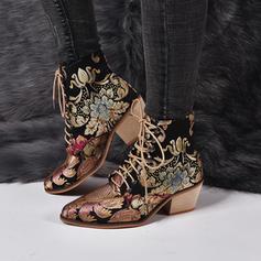 Mulheres PU Salto robusto Botas com Aplicação Laço de cetim sapatos