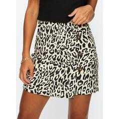 ポリエステル アニマルプリント 膝上 鉛筆のスカート
