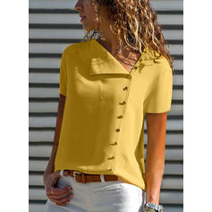 Solid Lapel Short Sleeves Button Up Casual Shirt Blouses