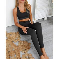 Correa Sin mangas Color sólido Conjuntos de yoga