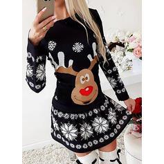 Animal Print Dlouhé rukávy Áčkové Nad kolena Vánoce/Neformální Skaterové Šaty