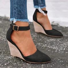 Dla kobiet Skóra ekologiczna Obcas Koturnowy Czólenka Zakryte Palce Koturny Spiczasty palec u nogi Z Klamra obuwie
