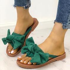 Donna Camoscio Senza tacco Sandalo Punta aperta Ciabatte con Bowknot scarpe