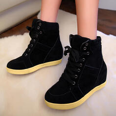 Mulheres Couro Sem salto Bota no tornozelo com Aplicação de renda Cor sólida sapatos