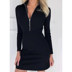 Pevný Dlouhé rukávy Pouzdrové Nad kolena Malé černé/Elegantní Šaty
