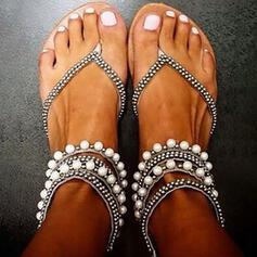 De mujer PU Tacón plano Sandalias con Perlas de imitación zapatos