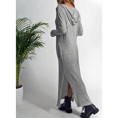 Sólido Manga Comprida Shift Sweatshirt Casual Maxi Vestidos
