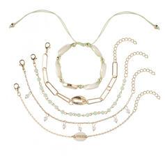 Szykowny Atrakcyjny Stop Z Imitacja Pereł Powłoka Zestawy biżuterii Bransoletki Biżuteria plażowa (Zestaw 5 par)