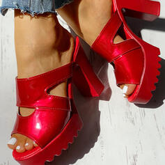 De mujer PU Tacón ancho Sandalias Encaje Pantuflas con Agujereado zapatos