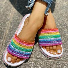 De mujer PVC Tacón plano Sandalias Planos Encaje Pantuflas con Rhinestone zapatos