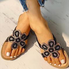 De mujer PU Tacón plano Sandalias Pantuflas con Rhinestone Flor zapatos