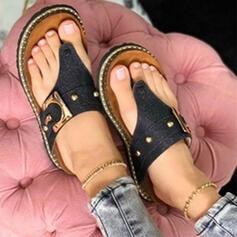 De mujer Cuero Tacón plano Sandalias Encaje Chancletas Pantuflas con Hebilla Agujereado Color sólido zapatos