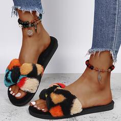 De mujer Piel sintética Tacón plano Sandalias Pantuflas con Piel Bloque de color zapatos