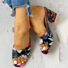 Bayanlar PU Tıknaz Topuk Sandalet Peep Toe Terlik ayakkabı