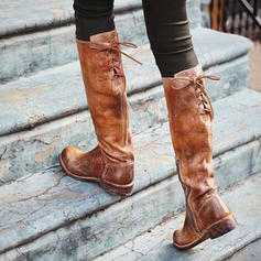 De mujer PU Tacón bajo Botas Botas a la rodilla con Cremallera Cordones zapatos