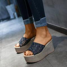 Γυναίκες PU Γωνία κλίσης Σφήνες Ανοιχτά σανδάλια toe Παντούφλες Με Πούλια παπούτσια