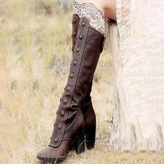 De mujer Cuero Tacón ancho Salón Botas con Rivet Cremallera zapatos