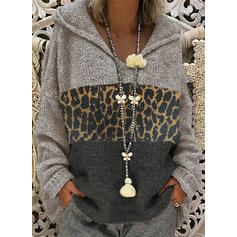 Color Block Leopard Hooded Casual Sweaters