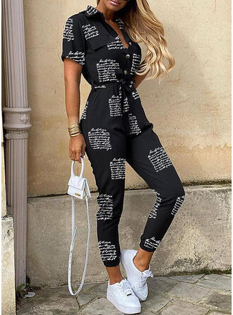 Print Shirt collar Short Sleeves Casual Jumpsuit