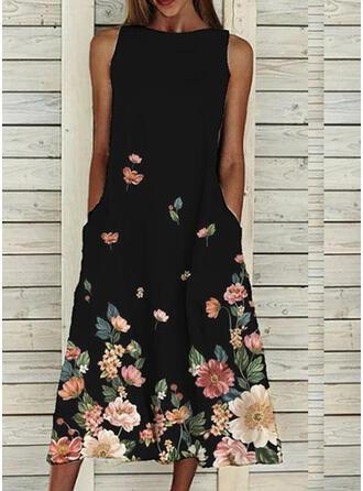 Impresión/Floral Sin mangas Vestidos sueltos Tanque Casual Midi Vestidos
