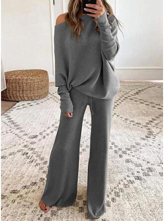 Solid Shirred Fritids Elegant Kostymer
