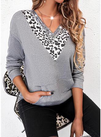 Color Block Leopard Sequins V-Neck Long Sleeves Sweatshirt