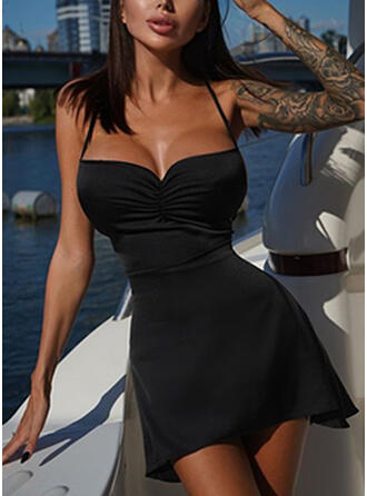 Solid/Backless Sleeveless A-line Above Knee Little Black/Sexy/Casual/Party Slip/Skater Dresses