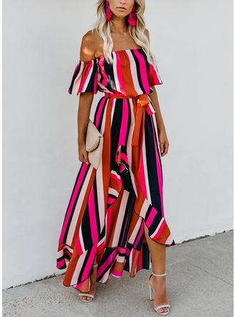 W paski Krótkie rękawy W kształcie litery A Asymetryczna Seksowna/Przyjęcie Sukienki