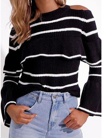 Print Striped Cold Shoulder Casual Sweaters