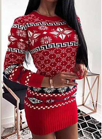 Navidad Impresión Cuello Redondo Casual Suéteres