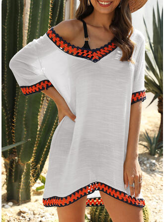 Solid Color V-Neck Fresh Boho Cover-ups Swimsuits