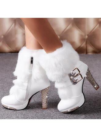Women's PU Chunky Heel Winter Boots With Rhinestone Buckle Faux-Fur Jewelry Heel shoes