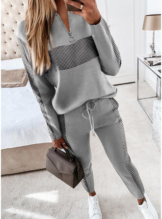 Print Plus Size Drawstring Casual Plain Suits