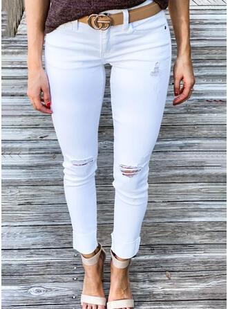 Sólido Algodón Largo Casual Tallas Grande Bolsillo rasgados Pantalones Vaqueros