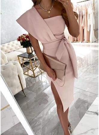 固体 半袖 シースドレス 膝丈 パーティー/エレガント ドレス