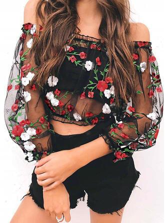 Floral Sin Hombros Manga de Linterna Casual Sexy Blusas