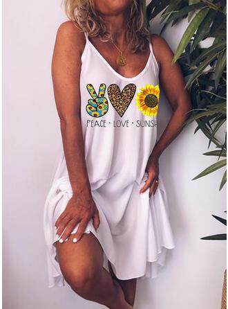 Impresión/Impresión de girasol Sin mangas Tendencia Sobre la Rodilla Casual/Vacaciones Vestidos