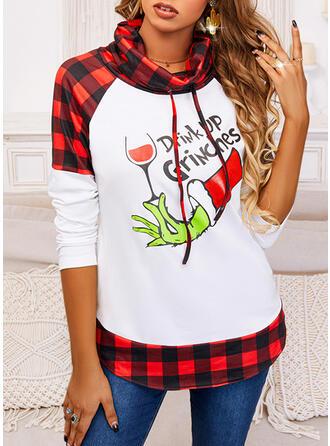 Christmas Print Color Block Plaid Letter High Neck Long Sleeves Sweatshirt