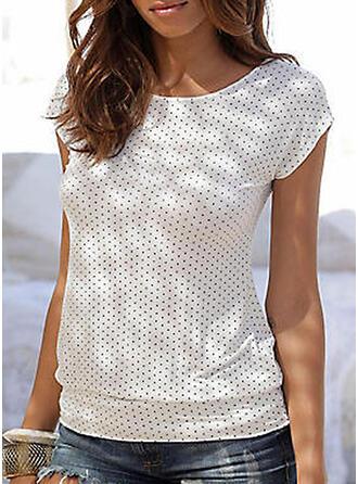 PolkaDot Round Neck Short Sleeves Casual T-shirts