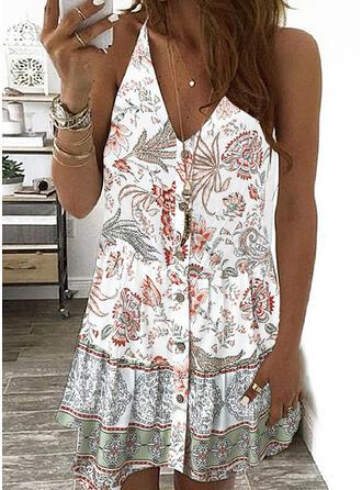 Print/Floral Sleeveless Shift Above Knee Casual/Boho/Vacation Slip Dresses